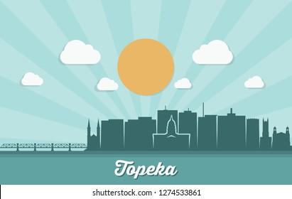 Topeka skyline - Kansas, United States of America, USA - vector illustration