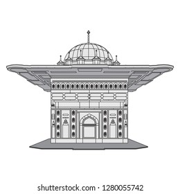 Tophane Fountain, Istanbul, Turkey. Vector illustration.