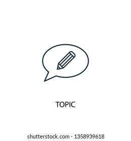 topic concept line icon. Simple element illustration. topic concept outline symbol design. Can be used for web and mobile UI/UX