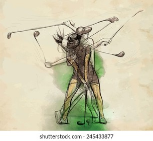 """Topic: GOLF (Complex """"matrix"""" motion, Golf swing). An hand drawn illustration converted into vector. Vector is easy editable in layers and groups."""