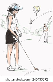 Topic: GOLF (Concentration). An hand drawn illustration converted into vector. Vector is easy editable in layers and groups.