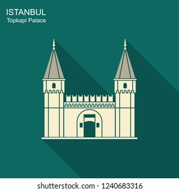 Topkapi Palace, Gate of Salutation, Istanbul, Turkey. Flat icon with long shadow