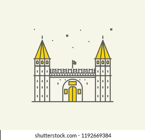 Topkapi Palace icon and vector. City travel landmark, tourist attractions in Istanbul
