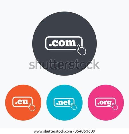 top-level internet domain icons  com, eu, net and org symbols with