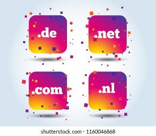 Top-level internet domain icons. De, Com, Net and Nl symbols. Unique national DNS names. Colour gradient square buttons. Flat design concept. Vector