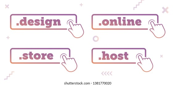 Top-Level Internet Domain Icons. Unique Domain Extension Name Icons. Roundel Buttons for UX, UI & Website Design on Random Abstract Background. - Vector