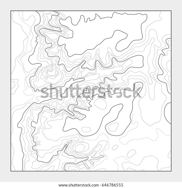 Topographic Contour Map Background Topo Heightmap Stock Vector