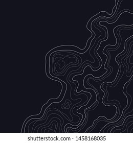topographic map ,abstract white height lines ,isolated on black background ,vector