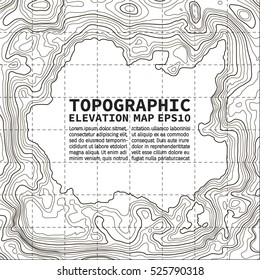 Topographic map background concept with space for text. Topo contour map. Vector abstract illustration. Hills, rivers and mountains. Geography concept. Wavy graphic backdrop. Cartography and topology