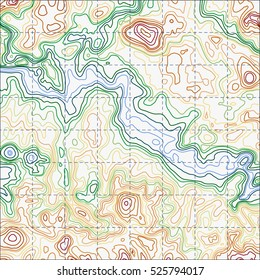 Topographic map background concept. Topo contour map. Vector abstract illustration. Hills, rivers and mountains. Geography concept. Wavy graphic backdrop. Cartography and topology.