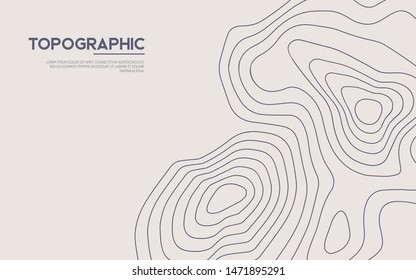 Topographic map background. Contour map vector. Vector, abstract height lines on white background.