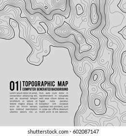 Topographic map background with space for copy .  Line topography map contour background , geographic grid abstract vector illustration . Mountain hiking trail over terrain .