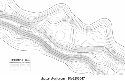 Topographic map contour background. Topo with elevation. Contour vector. Geographic World Topography map grid abstract vector illustration . Mountain hiking trail line design .