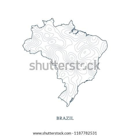 Topographic Map Contour Brazil Vector Illustration Stock Vector