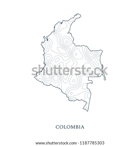 Topographic Map Of Colombia.Topographic Map Contour Colombia Vector Illustration Stock Vector