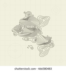 Topographic map with grid seamless pattern. Abstract map illustration. Easy to edit.