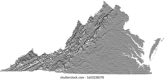 Topographic Relief Peaks and Valleys Map of US Federal State of Virginia