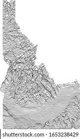 Topographic Relief Peaks and Valleys Map of US Federal State of Idaho