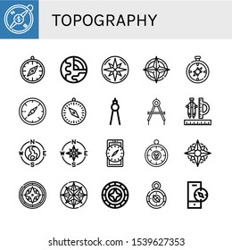 topography icon set. Collection of Compass, Geology, Windrose icons