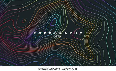 Topography relief. Abstract background. Vector illustration. Outline cartography landscape. Modern poster design. Trendy cover with wavy colorful lines