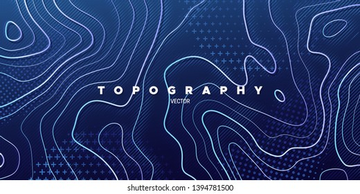 Topography relief. Abstract memphis background. Vector minimal illustration. Outline cartography landscape. Modern poster design. Trendy cover with wavy colorful lines