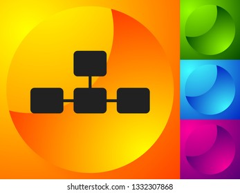 Topological, hierarchical diagram icon, Multilevel chart, graph