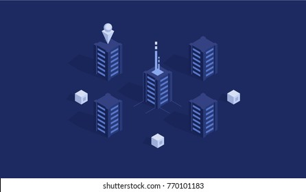 Topology scheme of data traffic, server room rack, computing and data center concept isometric flat vector illustration