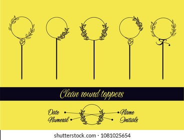 Toppers template for dates, names, initials or numerals