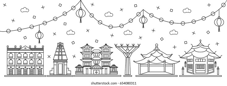 Top-rated singapore attractions in flat line design: museum, temple, chinatown and garden tree. Vector illustration of famous singaporean buildings with chinese lantern decoration.