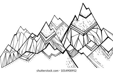 Tops, mountain slopes, mountain landscape, hilly terrain. Pattern for coloring or background. Stylish vector illustration, monochrome. A linear pattern for design. Art. Nature.