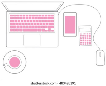 Topview of office desktop with coffee cup, calculator, smartphone and laptop.