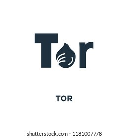 Tor icon. Black filled vector illustration. Tor symbol on white background. Can be used in web and mobile.