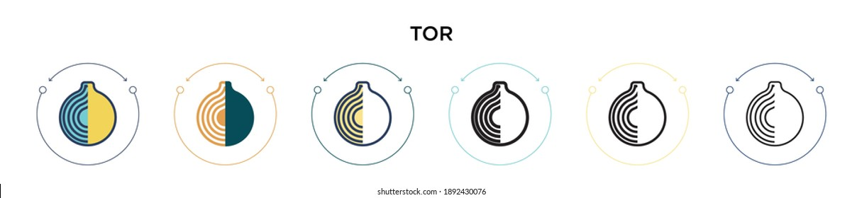 Tor icon in filled, thin line, outline and stroke style. Vector illustration of two colored and black tor vector icons designs can be used for mobile, ui, web