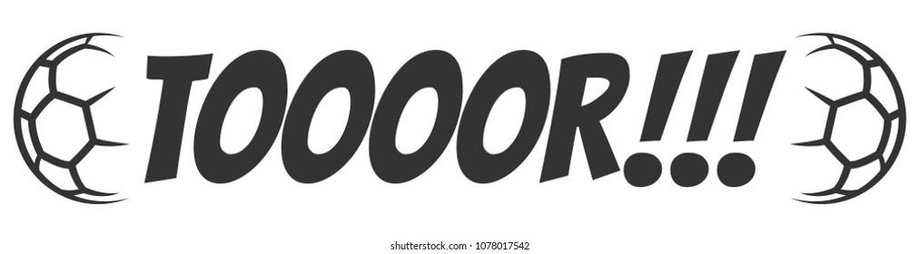 Tor soccer goal letter black white sign