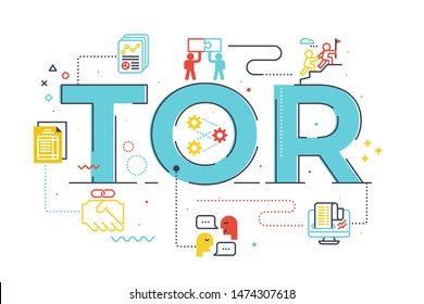 TOR (Term of Reference) word lettering illustration with icons for web banner, flyer, landing page, presentation, book cover, article, etc.