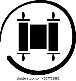 Torah black and white symbol, jewish