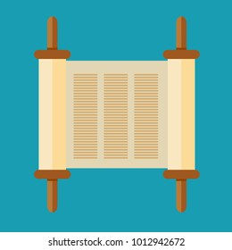 Torah scroll icon in flat style. Jewish Torah in expanded form. Flat illustration Torah Book, Jewish Torah, law Books. Simple old parchment scroll with the text. Symbol old scroll.