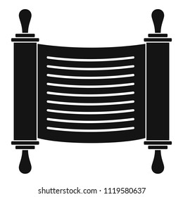 Torah scroll parchment icon. Simple illustration of torah scroll parchment vector icon for web design isolated on white background