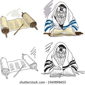 Torah scroll.  Yad - special pointer for reading the Torah scroll.The rabbi reads the Jerusalem Talmud. Hand drawing illustration.