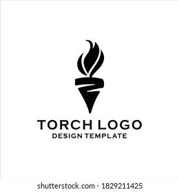 torch fire logo silhouette vector design template
