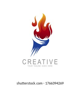 Torch fire logo vector icon, Olympic flaming torch logo, sport fire sign,