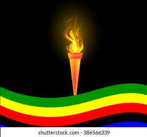 Torch and flag