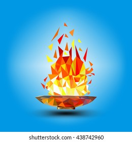 Torch, Flame. Cup with a torch on a blue background in the geometric style triangle XXIII Winter Games.