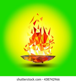 Torch, Flame. Cup with a torch on a green background in the geometric style triangle