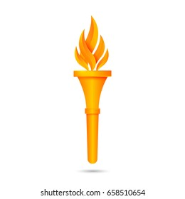 Torch flame icon or symbol design. Vector illustration