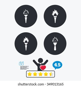 Torch flame icons. Fire flaming symbols. Hand tool which provides light or heat. Star vote ranking. Client like and think bubble. Quotes with message.