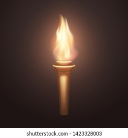Torch flame isolated on dark background. 3d medieval light icon. Vector wooden torch with burning fire element design.
