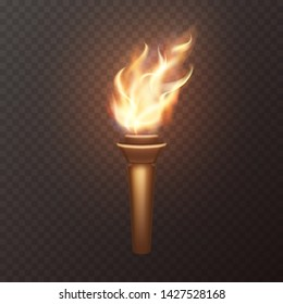 Torch flame isolated on transparent background. 3d medieval light icon. Vector wooden torch with burning fire element design.