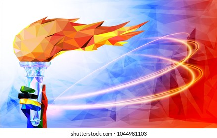 Torch, Flame. Olympic games, Tokyo 2020. football 2018 world championship cup background soccer. Vector illustration.