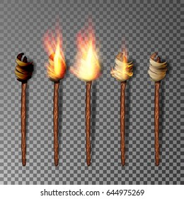 Torch With Flame. Realistic Fire. Realistic Fire Torch Isolated On Transparent Background. Vector Illustration